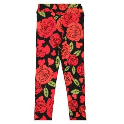 LuLaRoe Kids Small Medium S-M (SM) Roses Leggings fits Kids sizes 2-6