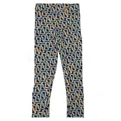 LuLaRoe Kids Small Medium S-M (SM) Stripe Geometric Continuous Weave Leggings fits Kids sizes 2-6