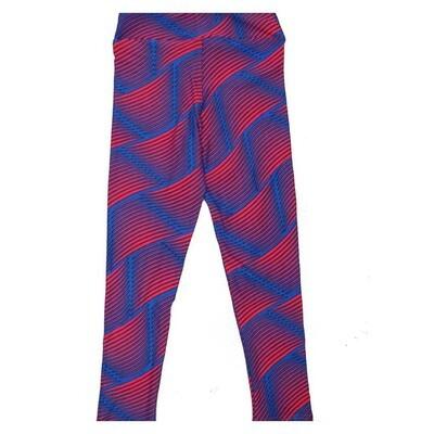 LuLaRoe Kids Small Medium S-M (SM) Stripe Trippy Wavy Leggings fits Kids sizes 2-6
