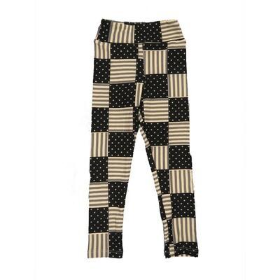 LuLaRoe Kids Small Medium S-M (SM) USA Flag Checkerboard Black White Leggings fits Kids sizes 2-6