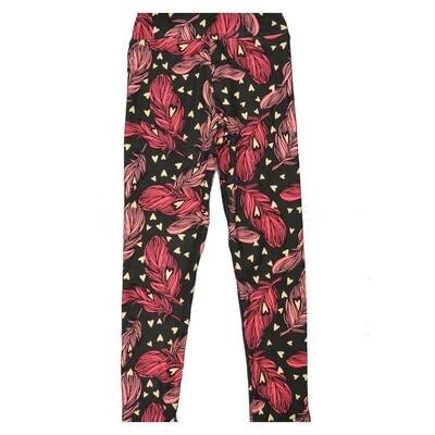 LuLaRoe Kids Small Medium S-M (SM) Valentines Hearts Feathers Leggings fits Kids sizes 2-6