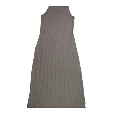 LuLaRoe DANI Medium M Solid Dark Gray Ribbed Fabric Sleeveless Column Dress fits Womens sizes 8-10