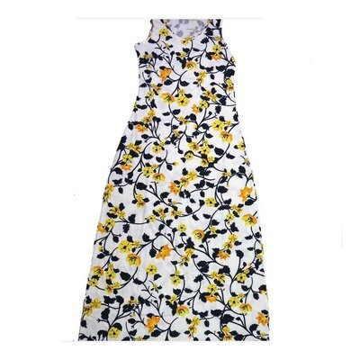LuLaRoe DANI XX-Large 2XL Blue Yellow White Floral Sleeveless Column Dress fits Womens sizes 18-22