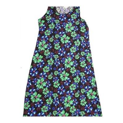 LuLaRoe DANI XX-Large 2XL Floral Black Blue Sleeveless Column Dress fits Womens sizes 18-22