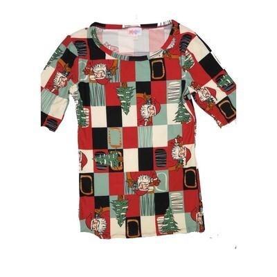 LuLaRoe GIGI XX-Small XXS Christmas Holiday Santa Claus Checkerboard Fitted Tee fits Women sizes 00-0