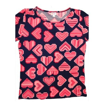 LuLaRoe GIGI XX-Large 2XL Valentines Pixel Hearts Fitted Tee fits Women sizes 20-22