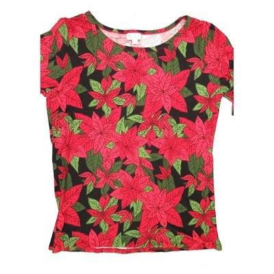 LuLaRoe GIGI X-Large XL Christmas Poinsettia Black Red Green Fitted Tee fits Women sizes 16-18
