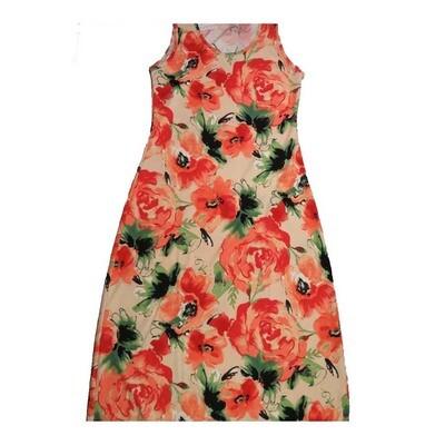 LuLaRoe DANI Medium M Roses Pink Peach Black Sleeveless Column Dress fits Womens sizes 8-10