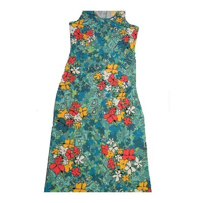 LuLaRoe DANI Medium M Floral Pink Red Blue White Sleeveless Column Dress fits Womens sizes 8-10