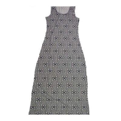 LuLaRoe DANI X-Small XS Black White Geometric Stripe Sleeveless Column Dress fits Womens sizes 2-4