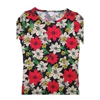 LuLaRoe GIGI Small S Christmas Poinsettia Black Red White Floral Fitted Tee fits Women sizes 4-6