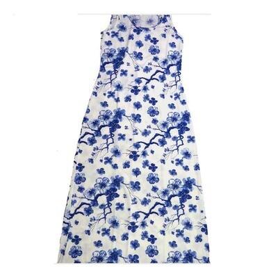 LuLaRoe DANI Small S Floral Blue White Sleeveless Column Dress fits Womens sizes 6-8