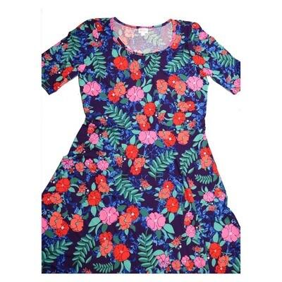 LuLaRoe Ana XXX-Large 3XL Floral Blue Red Teal Lavender Floor Length Maxi Dress fits sizes 22-24