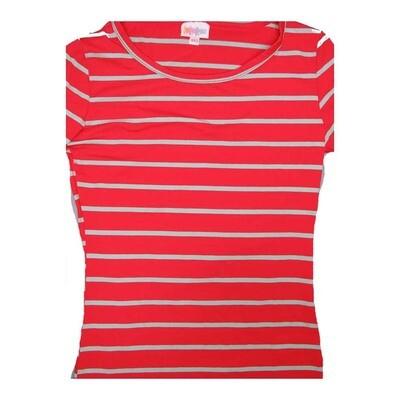 LuLaRoe GIGI XX-Small XXS Red Gray Stripe Fitted Tee fits Women sizes 00-0