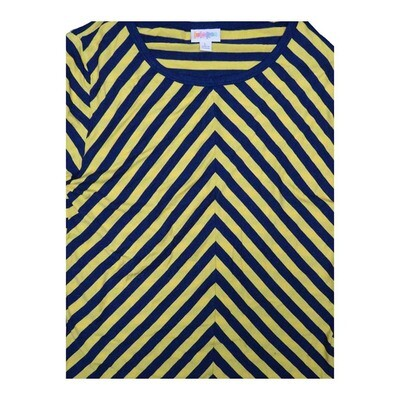 LuLaRoe GIGI Large L Navy Yellow Diagonal Stripe Fitted Tee fits Women sizes 12-14