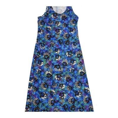 LuLaRoe DANI Large L Floral Polka Dot Sleeveless Column Dress fits Womens sizes 10-14