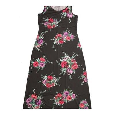 LuLaRoe DANI Medium M Floral Black Pink Blue White Sleeveless Column Dress fits Womens sizes 8-10