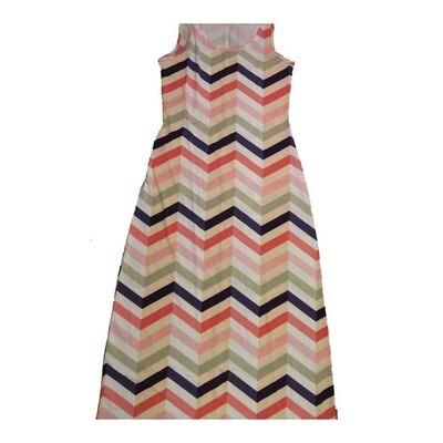 LuLaRoe DANI Small S Zig Zag Herringbone Stripe Sleeveless Column Dress fits Womens sizes 6-8