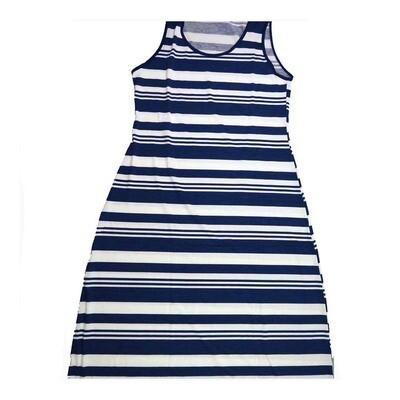 LuLaRoe DANI XX-Large 2XL Blue White Stripe Sleeveless Column Dress fits Womens sizes 18-22