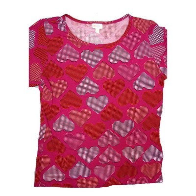 LuLaRoe GIGI XXX-Large 3XL Valentine's Hearts Polka Dot Red Pink Fitted Tee fits Women sizes 24-26