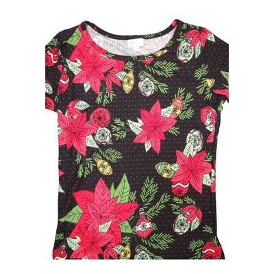 LuLaRoe GIGI Medium M Christmas Poinsettia Ornaments Polka Dot Fitted Tee fits Women sizes 8-10