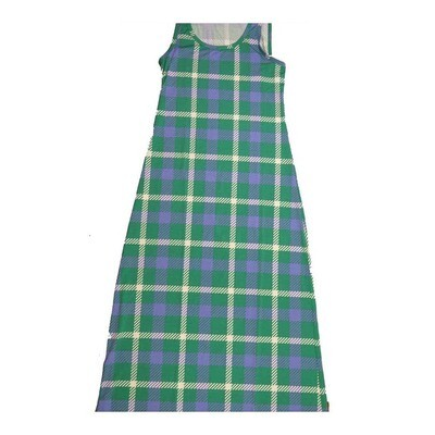 LuLaRoe DANI Small S Green Blue White Plaid Geometric Sleeveless Column Dress fits Womens sizes 6-8
