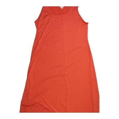 LuLaRoe DANI XX-Large 2XL Solid Red Sleeveless Column Dress fits Womens sizes 18-22