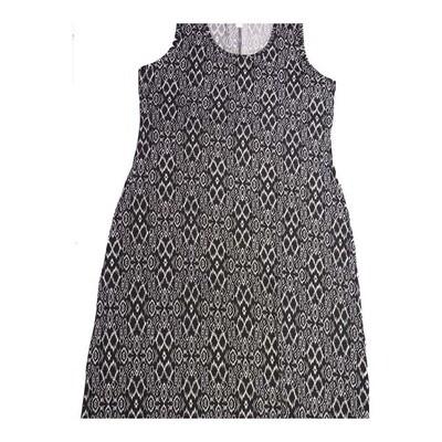 LuLaRoe DANI XX-Large 2XL Black White Snakeskin Like Pattern Geometric Sleeveless Column Dress fits Womens sizes 18-22