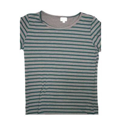 LuLaRoe GIGI Large L Gray Stripe Fitted Tee fits Women sizes 12-14