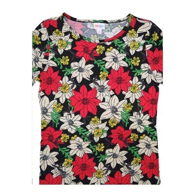 LuLaRoe GIGI Medium M Christmas Poinsettia Black Red White Tee fits Women sizes 8-10