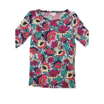 LuLaRoe GIGI XX-Small XXS Floral Fitted Tee fits Women sizes 00-0