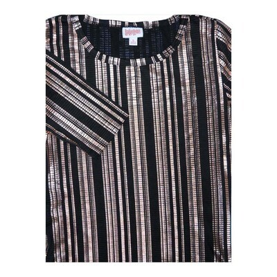 LuLaRoe GIGI Small S Black Silver Shimmery Elegant Collection Stripe Fitted Tee fits Women sizes 4-6