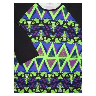 LuLaRoe Randy XXX-Large Disney Kermit the Frog Black Green Raglan Sleeve Unisex Baseball Womens Tee Shirt - XXXL fits 24-26