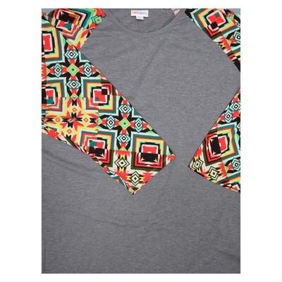LuLaRoe Randy XXX-Large 70s Trippy Psychedelic Geometric Raglan Sleeve Unisex Baseball Womens Tee Shirt - XXXL fits 24-26