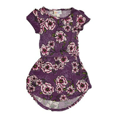 LuLaRoe Kids Mae Floral Purple Light Pink Pocket Dress Size 2 fits Kids 2T-4