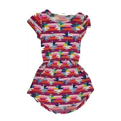 LuLaRoe Kids Mae Geometric Fuchsia Pink Blue Pocket Dress Size 2 fits Kids 2T-4