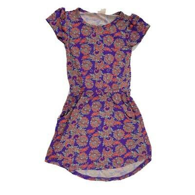 LuLaRoe Kids Mae Floral Deep Purple Orange Pocket Dress Size 2 fits Kids 2T-4