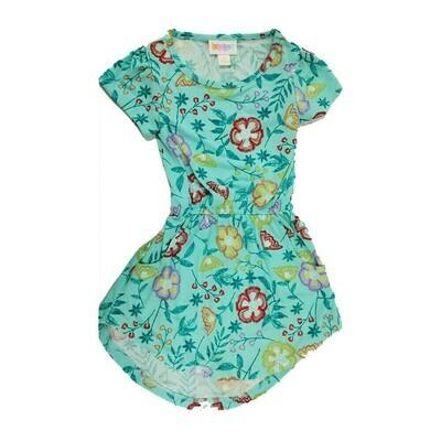 LuLaRoe Kids Mae Floral Light Green Yellow Pocket Dress Size 2 fits Kids 2T-4