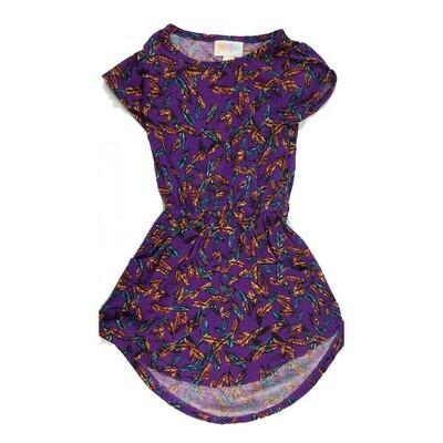 LuLaRoe Kids Mae Dark Purple Orange Multicolor Feathers Pocket Dress Size 2 fits Kids 2T-4