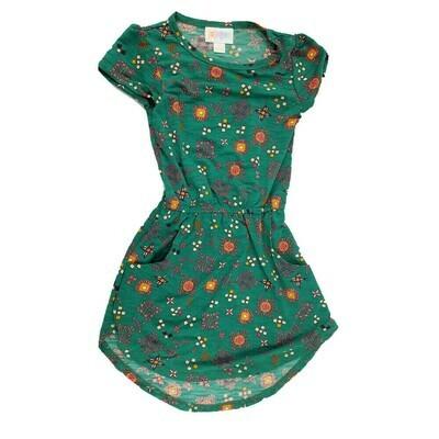 LuLaRoe Kids Mae Geometric Green Orange Pocket Dress Size 2 fits Kids 2T-4