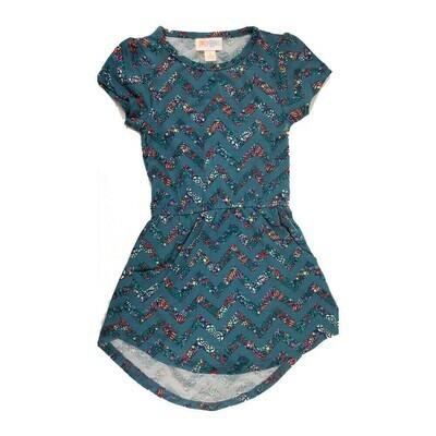 LuLaRoe Kids Mae Zig Zag Stripe Dark Blue Red Pocket Dress Size 2 fits Kids 2T-4