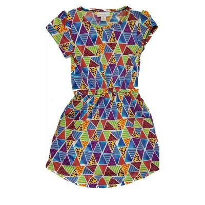 LuLaRoe Kids Mae Geometric Blue Yellow Red Pocket Dress Size 4 fits Kids 3-4