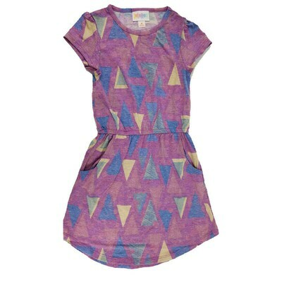 LuLaRoe Kids Mae  Geometric Purple Blue Yellow Triangles Pocket Dress Size 4 fits Kids 3-4