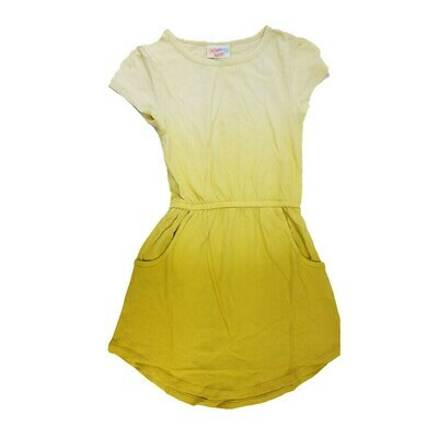 LuLaRoe Kids Mae Solid Yellow Hombre Pocket Dress Size 4 fits Kids 3-4