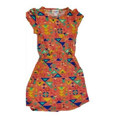 LuLaRoe Kids Mae Geometric Coral Blue Yellow Pocket Dress Size 6 fits Kids 5-6