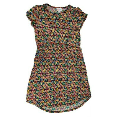 LuLaRoe Kids Mae Geometric Dark Blue Yellow Orange Pocket Dress Size 12 fits Kids 12-14