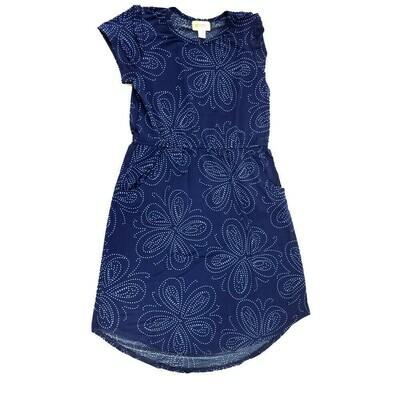 LuLaRoe Kids Mae Floral Dark Blue White Pocket Dress Size 12 fits Kids 12-14