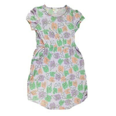 LuLaRoe Kids Mae Gray Lavender Purple Telephones Pocket Dress Size 12 fits Kids 12-14