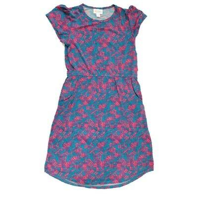 LuLaRoe Kids Mae Geometric Light Blue Purple Pocket Dress Size 12 fits Kids 12-14