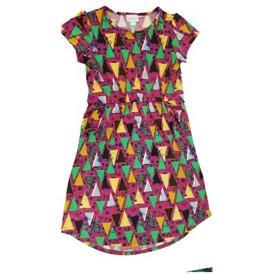 LuLaRoe Kids Mae Geometric Fuchsia Black Green Dandelions Pocket Dress Size 12 fits Kids 12-14
